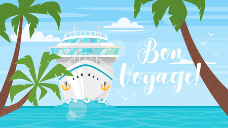 Vector cartoon style background of sea view. Good sunny day. Cruise ship - front view. Travel and tourism transport. Palm trees.