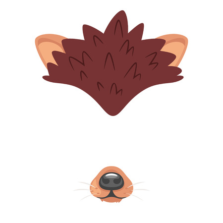 Vector cartoon style cute animal hedgehog face element or carnival mask. Decoration item for your selfie photo and video chat filter. Ears and nose. Isolated on white background.