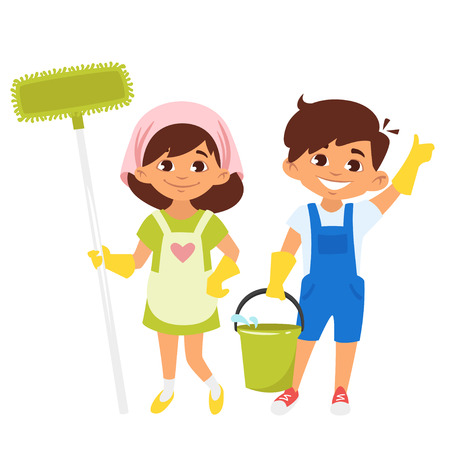 Vector cartoon style boy and girl characters with mop and bucket of water. Cleaning house. Ilustração