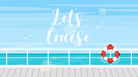 Vector cartoon style background of sea view. Good sunny day. Cruise, travel and tourism concept. Ship deck and lifebuoy. Vektorové ilustrace