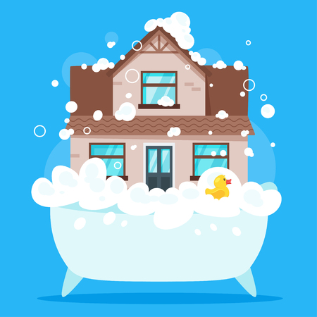 Vector cartoon style illustration of house in bath tub full of soap foam. Yellow rubber duck in bathtub. Cleaning house concept. Illustration