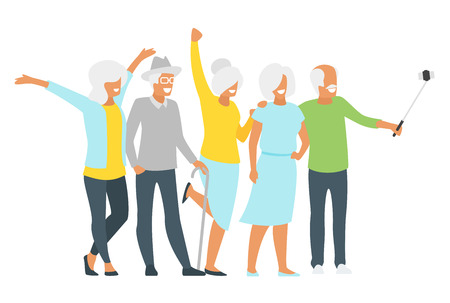 Illustration de style plat de vecteur de vieil homme âgé heureux et femme faisant selfie. Conception de minimalisme avec des silhouettes de personnes âgées.