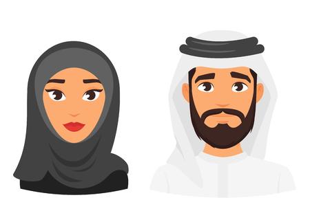 Wektor ilustracja kreskówka styl muzułmańskich arabskich tradycyjnej odzieży awatara. Młody mężczyzna i kobieta Odizolowywający na białym tle. Ikona dla sieci web.