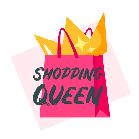 Vector cartoon style illustration of shopping bag and a golden crown in it. Shopping queen typography slogan for apparel design. Illusztráció