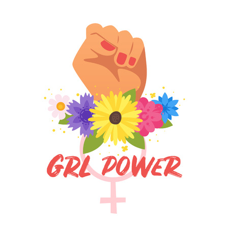 Vector cartoon style illustration of womans clenched fist and flowers. Drl power typography slogan for apparel design. Illustration