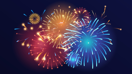 Vector realistic background with colorful fireworks on dark background. Illustration