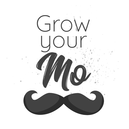 Vector flat style prostate cancer awareness month design poster, banner or card. Concept for annual event with mustaches and beard. Grow your mo text. Ilustração
