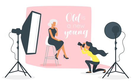 Vector flat style illustration of photo equipment in photography studio with lights and camera. Elderly old beautiful woman model sitting posing for photos. Minimalism design with people silhouettes.