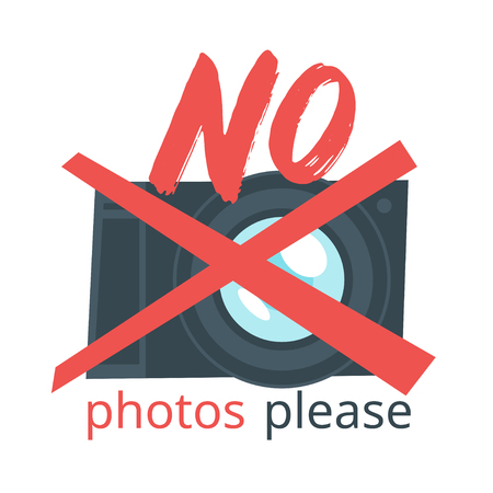 Vector cartoon style illustration of cross out photo camera. No photos please typography slogan for apparel design. Illustration