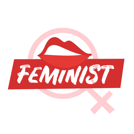 Vector cartoon style illustration of womans lips. Feminist typography slogan for apparel design. Female rights concept.