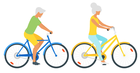 Vector flat style illustration of happy elderly old man and woman cycling. Minimalism design with people silhouettes. Active lifestyle concept. Vetores