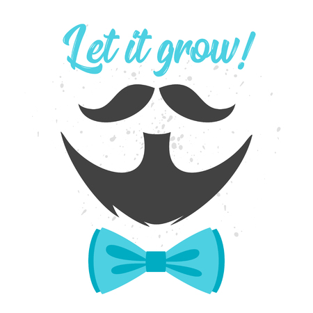 Vector flat style prostate cancer awareness month design poster, banner or card. Concept for annual event with mustaches and beard.  Blue bow tie. Illustration
