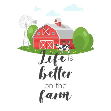Vektorkarikaturartillustration der roten landwirtschaftlichen Scheune und einer Kuh. Auf dem Farm-Typografie-Slogan für Bekleidungsdesign ist das Leben besser.