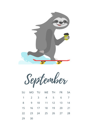Vector cartoon style illustration of September 2019 year calendar page with cute sloth character riding skateboard.