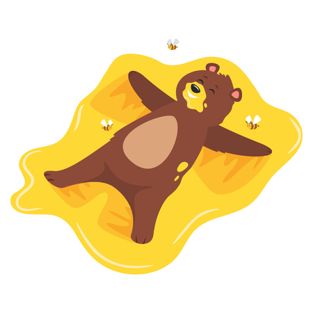 Cartoon vector illustration of brown grizzly bear, isolated on white background. Teddy lying in sticky sweet honey like a snow angel. Bees flying around.