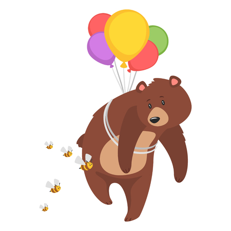 Cartoon vector illustration of brown grizzly bear, isolated on white background. Teddy trying to escape from angry bees with the help of balloons, attached to the back.
