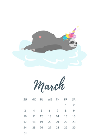 Vector cartoon style illustration of March 2019 year calendar page with cute resting on cloud sloth character with unicorn horn and flower wreath. Stock fotó - 110017959