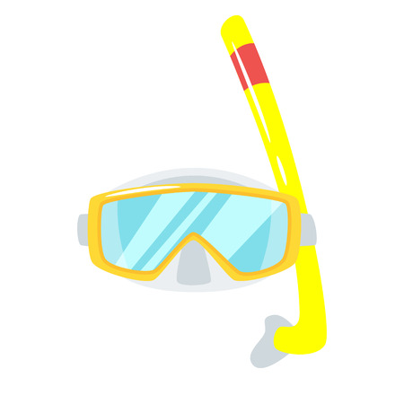 Vector cartoon style tropical Hawaii face element or carnival mask. Decoration item for your selfie photo and video chat filter. Swimming mask with tube. Isolated on white background.