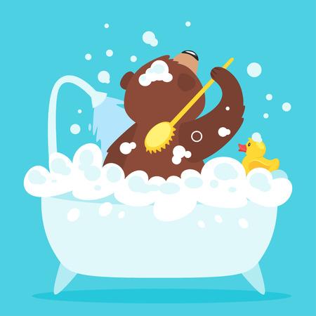 Ilustración de vector de dibujos animados de oso grizzly marrón, aislado sobre fondo azul. Teddy tomando un baño lleno de espuma de jabón. Pato de goma amarillo en la bañera. Concepto de higiene.