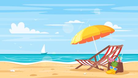 Wektor kreskówka styl tło brzegu morza. Dobry słoneczny dzień. Leżak i parasol plażowy na piaszczystym wybrzeżu.