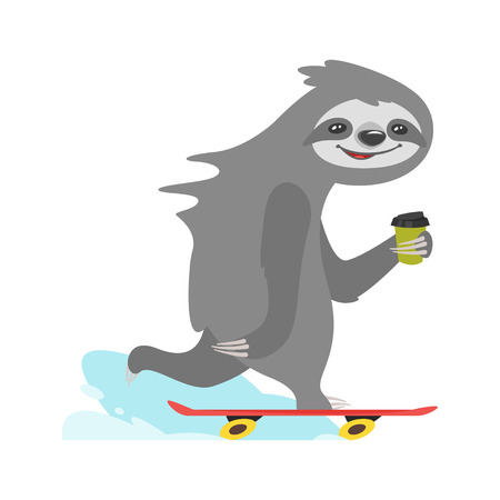 Vector cartoon style illustration of cute sloth character riding skateboard, isolated on white background. Print for t-shirt or poster design.