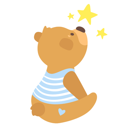 Cartoon vector illustration of cute teddy bear in stripes t-shirt sitting and watching the stars, isolated on white background. Template for print.