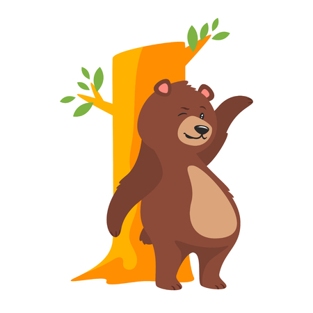 Cartoon vector illustration of brown grizzly bear, isolated on white background. Teddy rubs up against a tree.