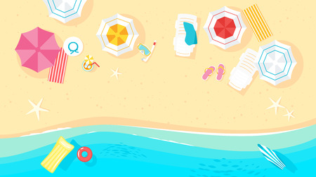 Vector cartoon style background of sea shore. Good sunny day. Top view with beach umbrellas, sunglasses, swim ring, surf boards.