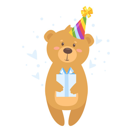 Cartoon vector illustration of cute teddy bear in cone birthday hat holding present, isolated on white background. Template for print.