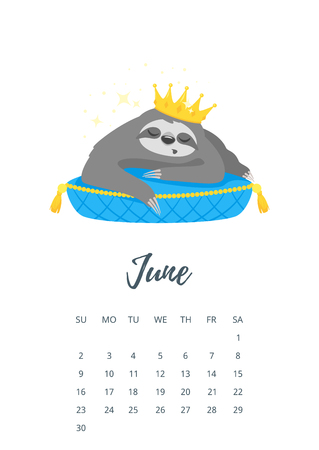 Vector cartoon style illustration of June 2019 year calendar page with cute sloth character in golden crown, lying on luxury blue pillow. Stock fotó - 110153035