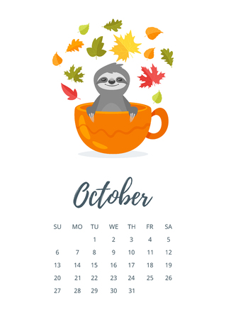 Vector cartoon style illustration of October 2019 year calendar page with cute sloth character sitting in a cup and autumn flowers around.