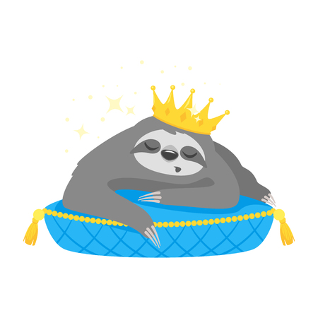 Vector cartoon style illustration of cute sloth character in golden crown, lying on luxury blue pillow, isolated on white background. Print for t-shirt or poster design.