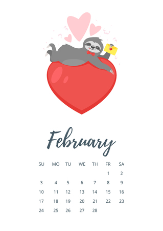 Vector cartoon style illustration of February 2019 year calendar page with cute sloth character lying on big red heart and holding love letter.