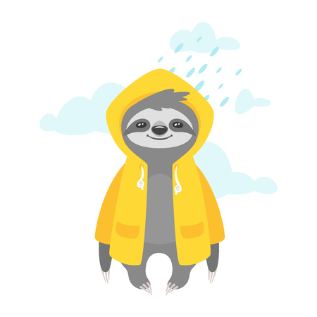 Vector cartoon style illustration of cute sloth character in yellow raincoat, isolated on white background. Print for t-shirt or poster design. Rainy weather.