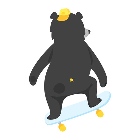 Cartoon vector illustration of cool black  bear riding on skateboard, isolated on white background. Template for print.