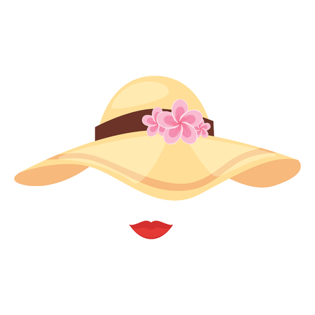 Vector cartoon style tropical Hawaii face element or carnival mask. Decoration item for your selfie photo and video chat filter. Brim floppy sun beach dress hat with flowers and lips, white background