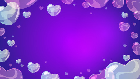 Vector cartoon style background with soap transparent heart-shaped bubbles at the border. Violet background.