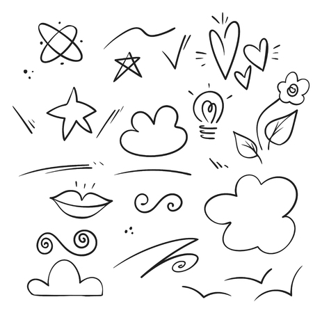 Vector hand drawn collection of curly swishes, swashes, swoops. Calligraphy swirl. Highlight text elements.
