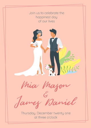 Vector flat style illustration of man in suit and woman in wedding dress standing and holding hands. Marriage day. Save the date invitation template. Floral elements.  Illustration