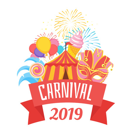 Vector flat style illustration of amusement park carnival for kids. Isolated on white background. Funfair icons: mask and circus tent. Typography poster with decorative red ribbon. Illustration