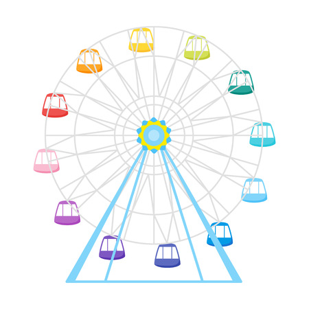 Vector flat style illustration of colorful Ferris wheel. Isolated on white background. Icon for web.  Illustration