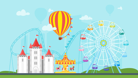 Vector flat style illustration of amusement park carnival for kids. Isolated on urban background. Funfair landscape with carousel, striped circus tent and air balloon in sky. horizontal composition. Illustration