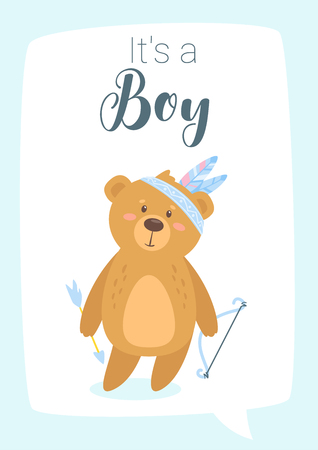 Baby shower print template with cute teddy bear with bow and arrow and tribal feathers on the head. Vertical composition, vector illustration. Nursery design.  Boy blue color card. Illustration