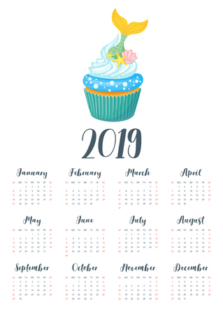Vector cartoon style illustration of 2019 year calendar with sweet cupcake. Muffin isolated on white background. Dessert with mermaid tail and sea shells.  Template for print. One page calendar. Çizim