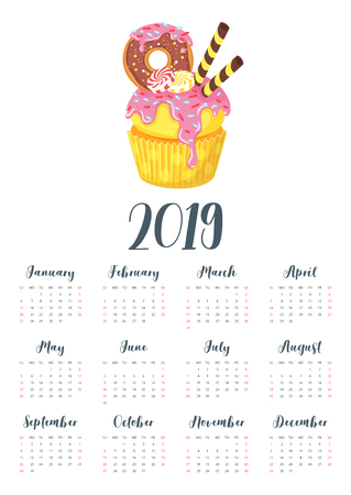 Vector cartoon style illustration of 2019 year calendar with sweet cupcake. Muffin isolated on white background. Dessert with doughnut, candies and pink icing. Template for print. One page calendar. Illusztráció