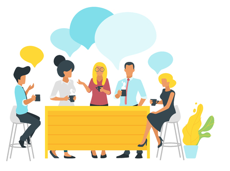 Coffee break concept with businessman sitting at the table talk and holding cups. Social networking concept. Modern office illustration. Minimalism design with people silhouettes and speech bubbles Illusztráció