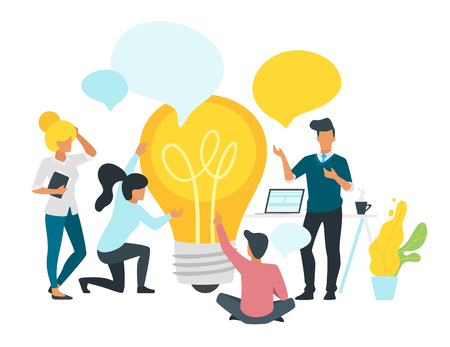 Problem solving concept with business people talk and communicate around big light bulb. Social networking concept. Modern office workspace. Minimalism design with people silhouettes and speech bubble Imagens - 127730786