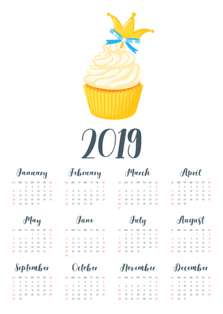 Vector cartoon style illustration of 2019 year calendar with sweet cupcake. Muffin isolated on white background. Dessert with blue bow and golden royal crown. Template for print. One page calendar. Illusztráció