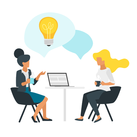 Coffee break concept with businesswoman talk and holding cups. Social networking concept. Modern office illustration. Problem solving. Minimalism design with people silhouettes and speech bubbles. Illusztráció