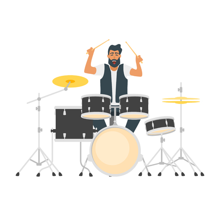 Vector flat style young bearded musician. Beautiful man character playing a drum kit. Minimalism design with people silhouettes.